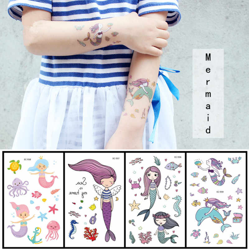 4Pcs Cartoon Mermaid Child Temporary Tattoo Sticker Mermaid Party Decorations Birthday Party Decorations Kids Baby Shower. Q