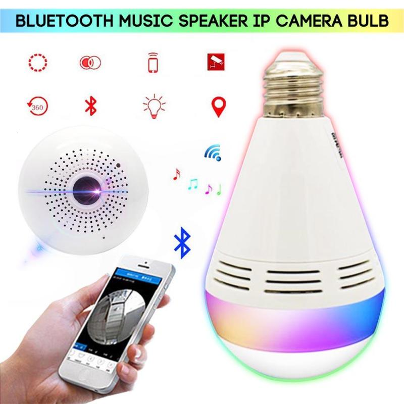 960P 130DPI Smart RGB Bluetooth Speaker Camera 3D VR LED E27 Bulb Light Music Human Body Induction 64G Panoramic IP FishEye