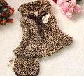 Otoño Invierno Leopard Faux Fur Coat chaquetas de abrigo para las niñas ropa casual bebé lana gruesa ropa de abrigo con la bolsa
