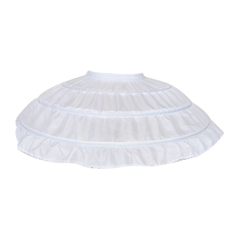 Children Girls 3 Steel Hoops White Petticoat Wedding Gown Dress Underskirt Elastic Waistband Drawstring A-Line Skirt Ruffles HM