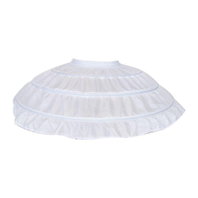 Children Girls 3 Steel Hoops White Petticoat Wedding Gown Dress Underskirt Elastic Waistband Drawstring A-Line Skirt Ruffles HM