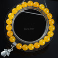 "Free shipping 8mm Natural Yellow Jade Gem stone Round Beads Stretchy Bracelet 7"" Little angel Charm Bring Good Luck Gift TK1964"