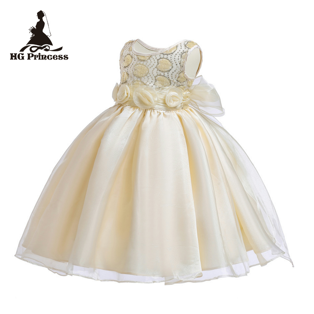 Free Shipping Knee Length Gold Girl Party Dress For 2-12 Years Formal Children Dresses Sequined Kids Evening Gowns With Flowers