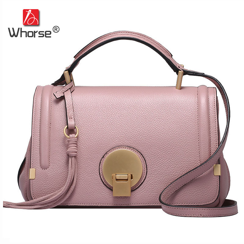 [WHORSE] Brand Luxury Genuine Leather Women Handbag Ring Fashion Real Cowhide Ladies Handbags Messenger Bags W07480 [whorse] brand luxury fashion designer genuine leather bucket bag women real cowhide handbag messenger bags casual tote w07190