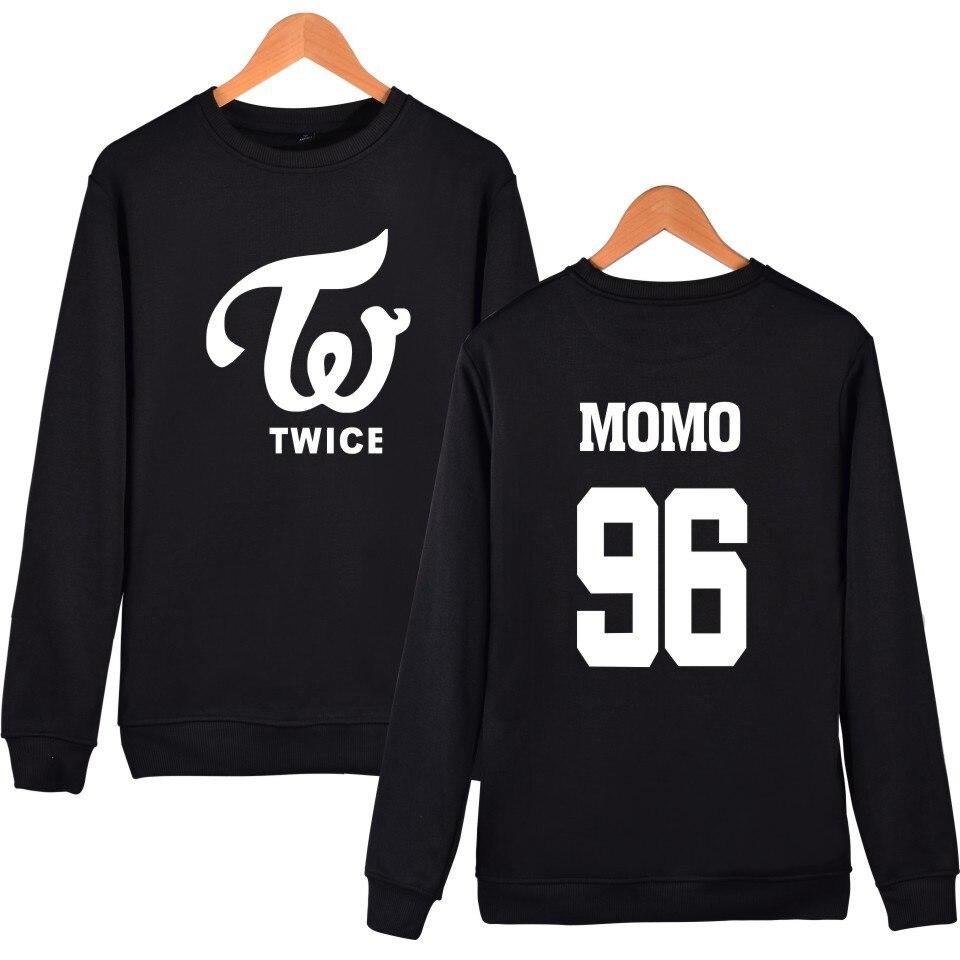 TWICE Kpop Hoodies Sweatshirt Fleece Letters Printed Hoodie Sweatshirts Pullover Long Sleeve Tracksuit Tops K Pop Clothes