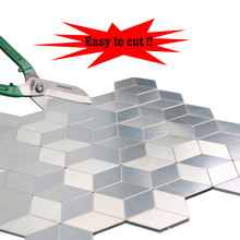 Wholesale 4 Sheets Easy to Cut Peel and Stick Wall Tiles Diamond Design Stainless Steel Silver Mosaic Stickers 12 Inch Per Piece