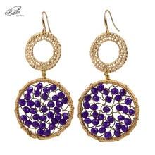 Badu Handmade Women Round Tiny Crystal Earrings Drop & Dangle Retro Ethnic for Christmas Black Friday Party Jewelry