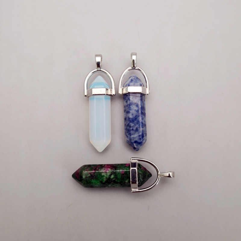 Moda trendy natural stone & Pingentes colares para fazer Jóias 24-pilar de cristal 200 pcs charme mista Ponto atacado
