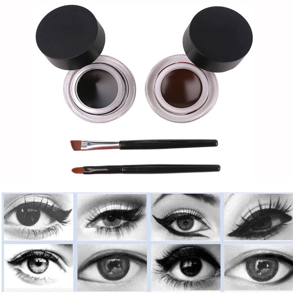 2pcs/set Black/Brown Waterproof Double Color Eyeliner Gel Cream with 1pcs Eyeliner Brush and 1pcs Eyebrow Brush Makeup Tools