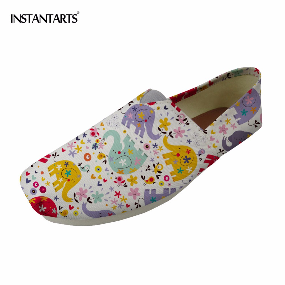 INSTANTARTS Loafers Canvas Shoes Women Casual Shoes Cute Cartoon Bear Pattern Woman Girl Slip-on Flats Lazy Shoes Zapatos Mujer