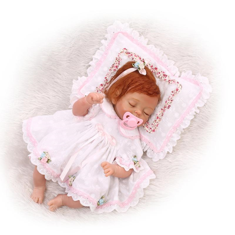 [SGDOLL] 2017 New 17 Lifelike Reborn Sleeping Girl Dolls Silicone Vinyl Handmade Baby w Mini Pillow Toy 16070110 disney disney 1200456 дисней лэмми 20 см