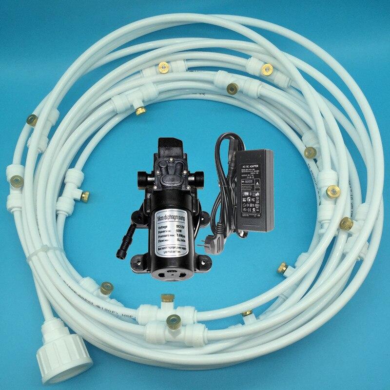 A239 12 v DC Hydraulique Pompe À Membrane Pompe À Eau Avec 12 m Brumisation Arrosage Kits 16 pcs Buses pour Patio système D'irrigation de refroidissement