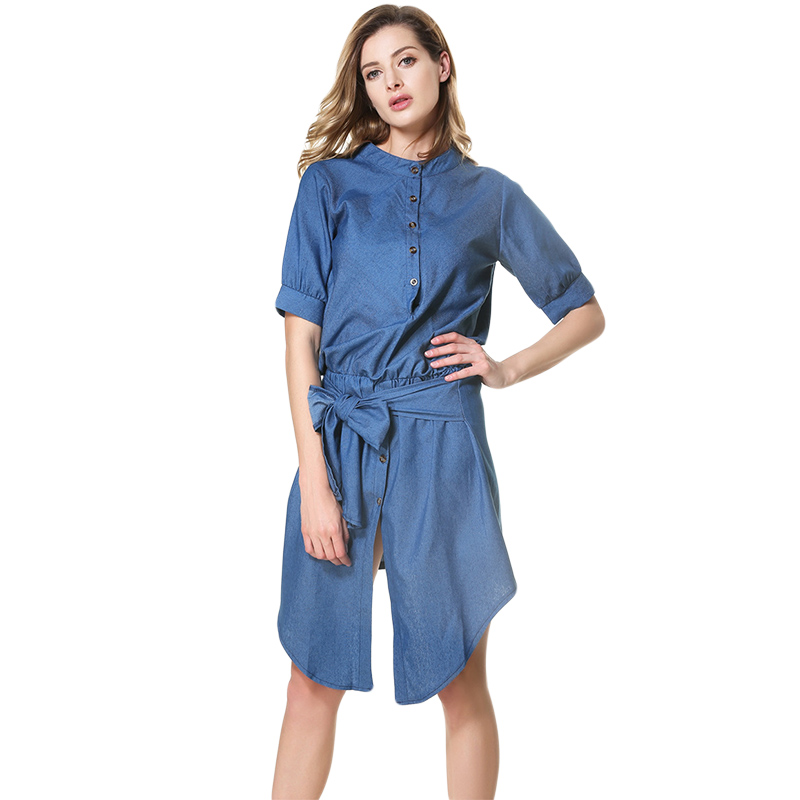 Blue Denim Dress Fashion Casual  Jean Dress Slim Party Sexy Dress Vestido Ukraine Plus Size Vintage Robe Femme Jurken
