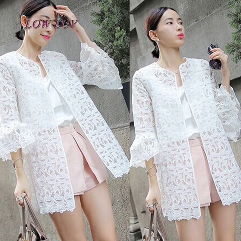 2017 summer  cardigan women Eugen yarn thin section outside take a long paragraph jacket white lace long-sleeved sun clothes