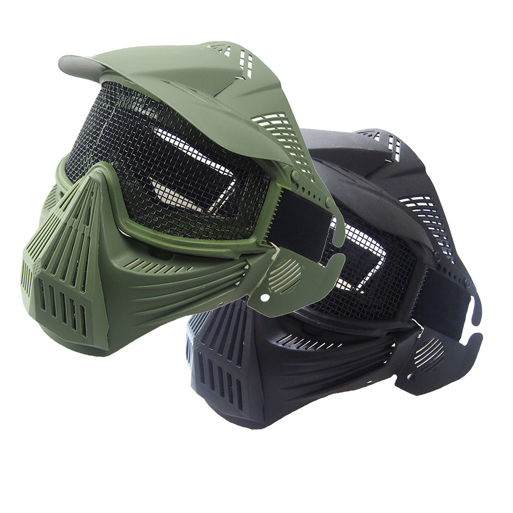 AUTO Tactical Airsoft Full Face Mask Safety Metal Mesh Goggles Protection Full Face Mask Bicycle Cap Men Riding Bandana NOV 01 ...