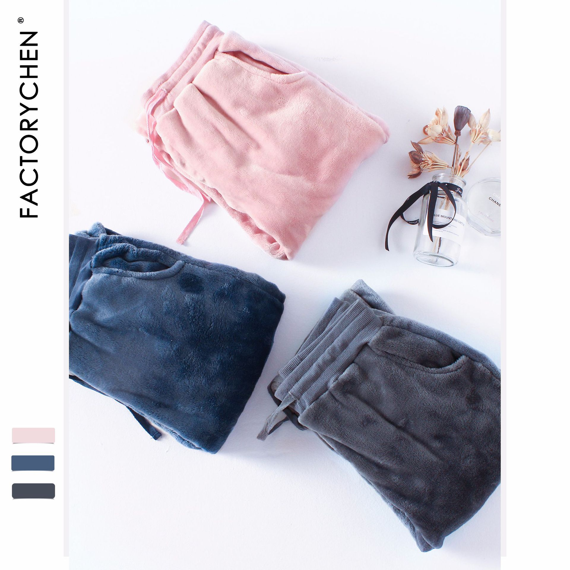 Autumn&winter Men&women Flannel Pijama Sleep Bottoms Couple Thickened Large Size Home Pants Plus Fertilizer Coral Fleece Pants