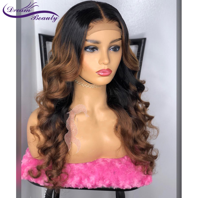 Colored 1b/30 Ombre Lace Front Human Wig With Baby Hair PrePlucked Wavy Brazilian Highlight Color Remy Hair Dream Beauty-in Human Hair Lace Wigs from Hair Extensions & Wigs    2