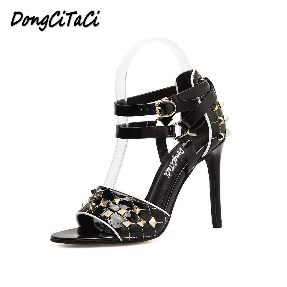 DongCiTaCi Women High Heels Sandals Shoes Woman Pumps Fashion Rivets Ankle Strap Buckle Party Wedding OL Dress Ladies Stilettos baoyafang white red tassels women wedding shoes bride 12cm 14cm high heels platform shoes woman high pumps female shoes