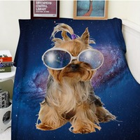 Blanket Plaid Warmth Soft Plush Easy Care Machine Wash Funny Cute Dog Coloful Galaxy Poodle Wearing