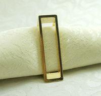 square gold metal napkin ring, napkin holder for wedding,24 pcs