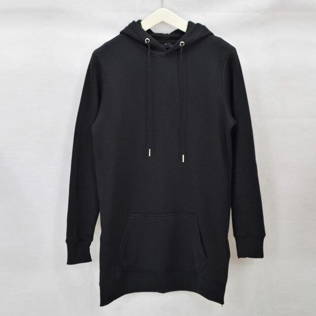 2020 men's hip hop fleece sweatshirts with hoody side zip to hem design long sweat shirt men longline hoodies for men 4