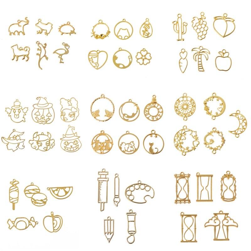 Set Sales Small Design Round Pocket Watch Metal Frame Pendant Open Bezel UV Resin Jewelry DIY