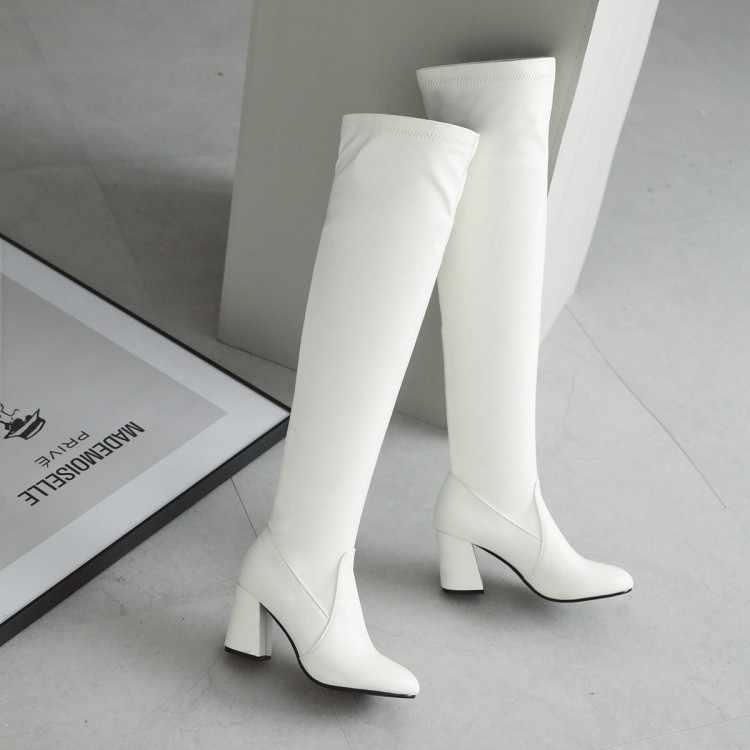 Big Size 9 10 11-17 di alta della coscia stivali alti al ginocchio stivali stivali sopra il ginocchio delle signore delle donne stivali il manicotto è di spessore e a