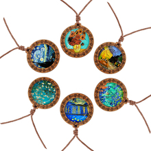 Retro Art Van Gogh Oil Painting Necklace Wooden Pendant Glass Cabochon Rope Chain Men Women Jewelry