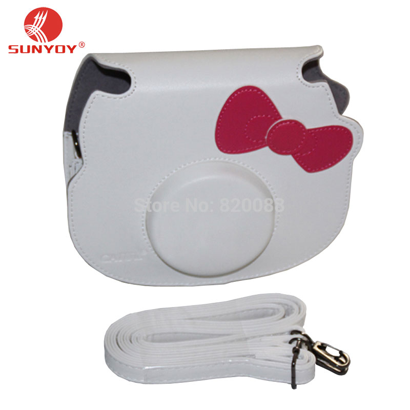 New Camera Case Bag with Bowknot for Polaroid Instax Mini Hello Kitty Camera with Shoulder Strap, free shipping