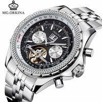 Luxury ORKINA Self Winding Skeleton Watch Men Analog Automatic Mechanical Tourbillon Watches Date Display Men S
