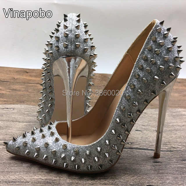 Vinapobo Hot Sale Silver Sexy Rivets Stiletto Heels Pointed Toe Shiny Leather  Dress Pumps Women High e7f6bebfe1fa