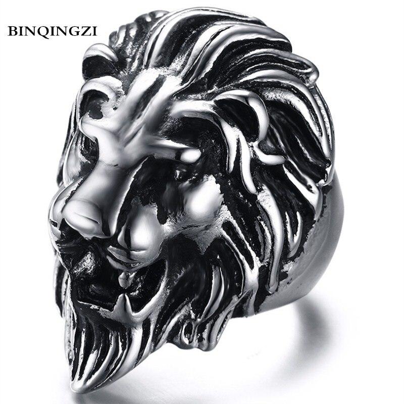 BINQINGZI 2018 Dropshipping Vintage lega di zinco Lion head Anello uomini del Motociclista Punk anello di Laurea anel Gioielli di Moda