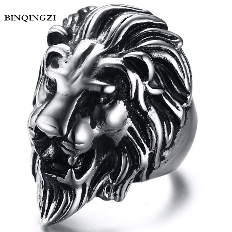 BINQINGZI 2018 Dropshipping Vintage zinc alloy Lion head Ring men Biker Punk ring Graduation anel Fashion Jewelry delicate lion head shape ring for men