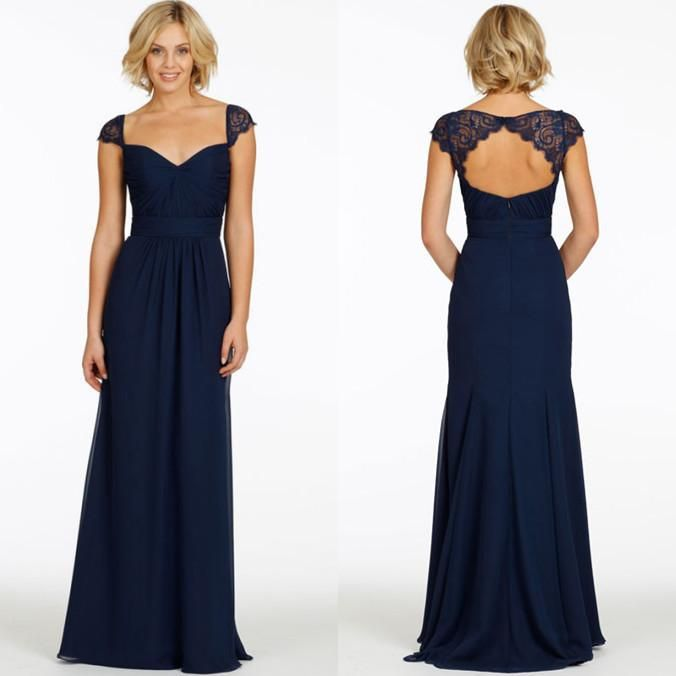 2015 cheap with cap sleeves v neck chiffon long navy blue for Navy dresses for weddings