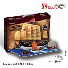 CubicFun 3D puzzle paper model fleet of zheng he boat ship team building Ancient China Ming Dynasty toy baby birthday gift 1set