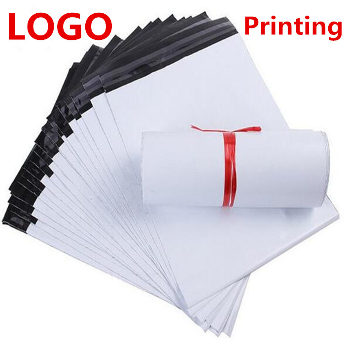 Printing LOGO 500PCS/LOT White Color Self-Adhesive Poly Mailer/Mailing Post Envelope Plastic Express Courier Bags