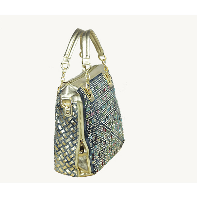fashion brand luxury bag designer handbags high quality gold diamante woven denim bags shipping