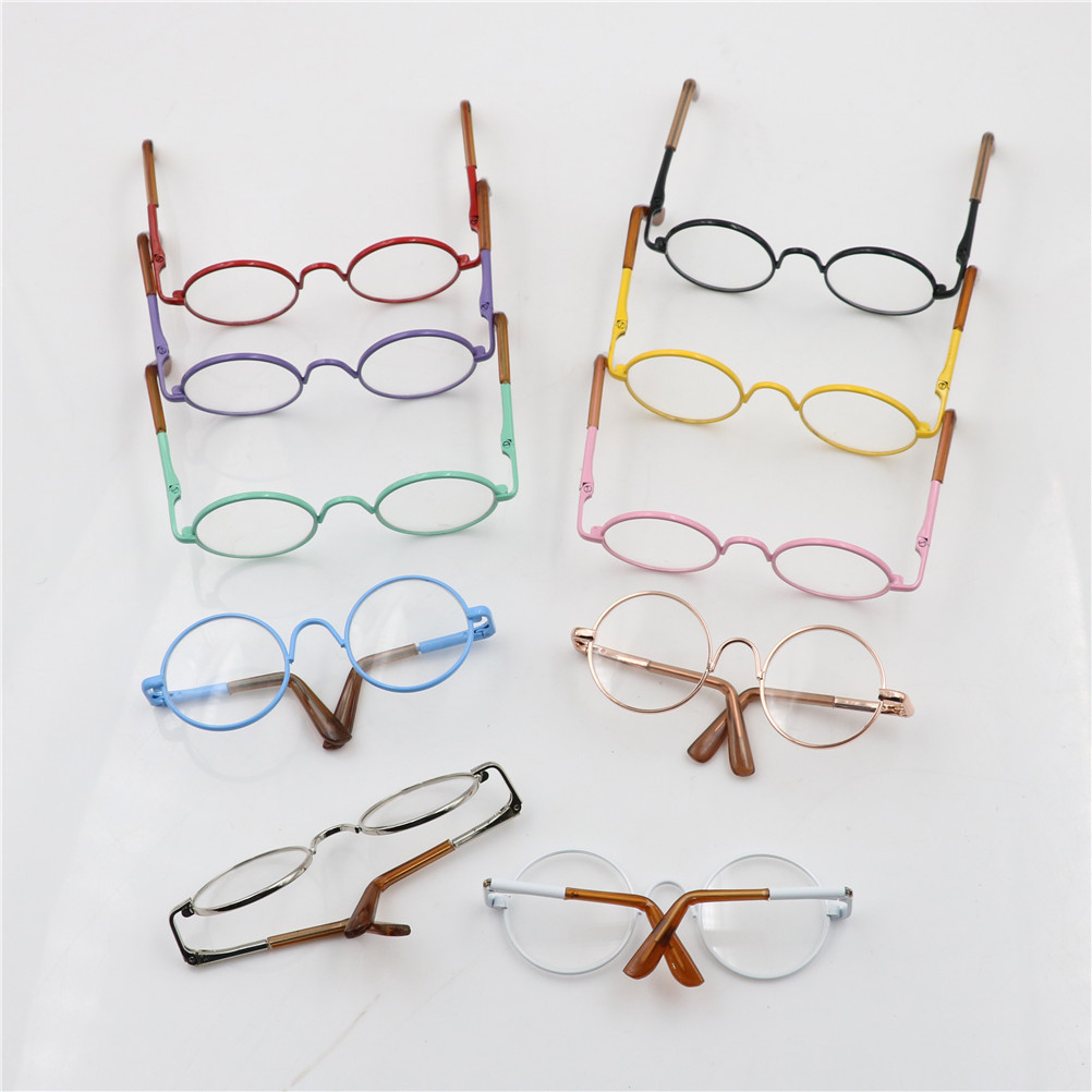 цена на Doll Accessories round-shaped Round glasses colorful glasses sunglasses suitable for BJD blythe doll as for American girl dolls