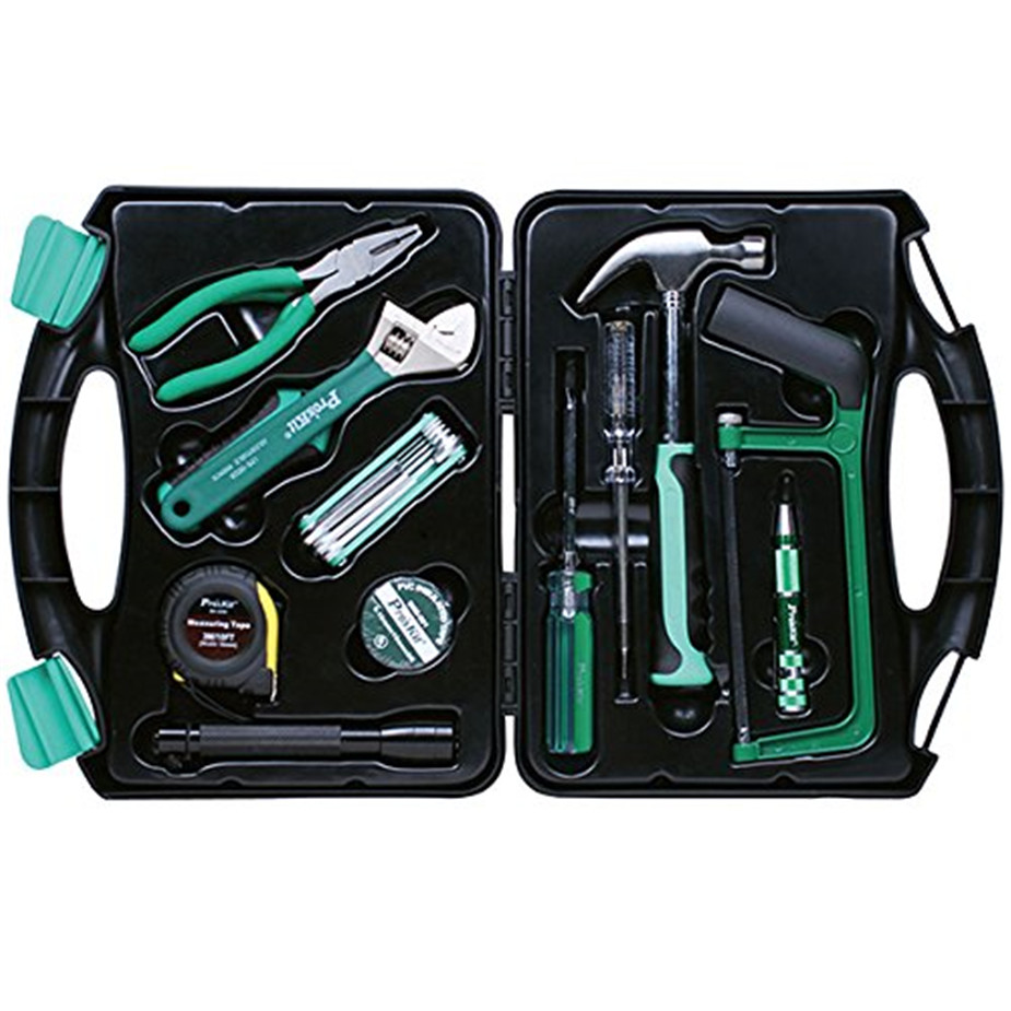 Free delivery Pro'skit PK-2028 Household Repair Hand Tool Set Electrician Pliers Driver Bit Set Wrench Tool Kit Tool Box 2017 high quality taiwan bao gong pk 2801 vde1000v pro skit high voltage insulation electrician tool set free shipping