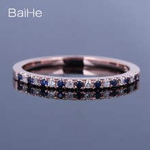 BAIHE 10 K Rose Gold Certified 0.2ct รอบธรรมชาติแท้ 100% Diamonds & Sapphires (China)