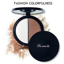 2 Colors Eyes Makeup Pressed Powder Contour Natural Bronzer Highlight Palette Se