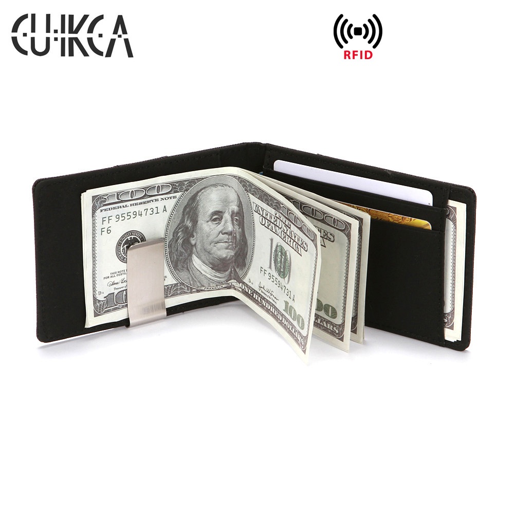 Ford Edge Carbon Fiber Style Minimalist Leather Slim Wallet RFID Block with Money Clip
