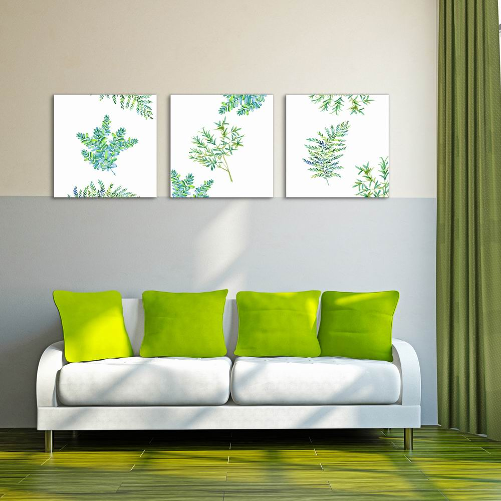 20 Fresh And Cool Home Office Ideas: Fresh Leaves Modern Canvas Wall Art Painting Printed