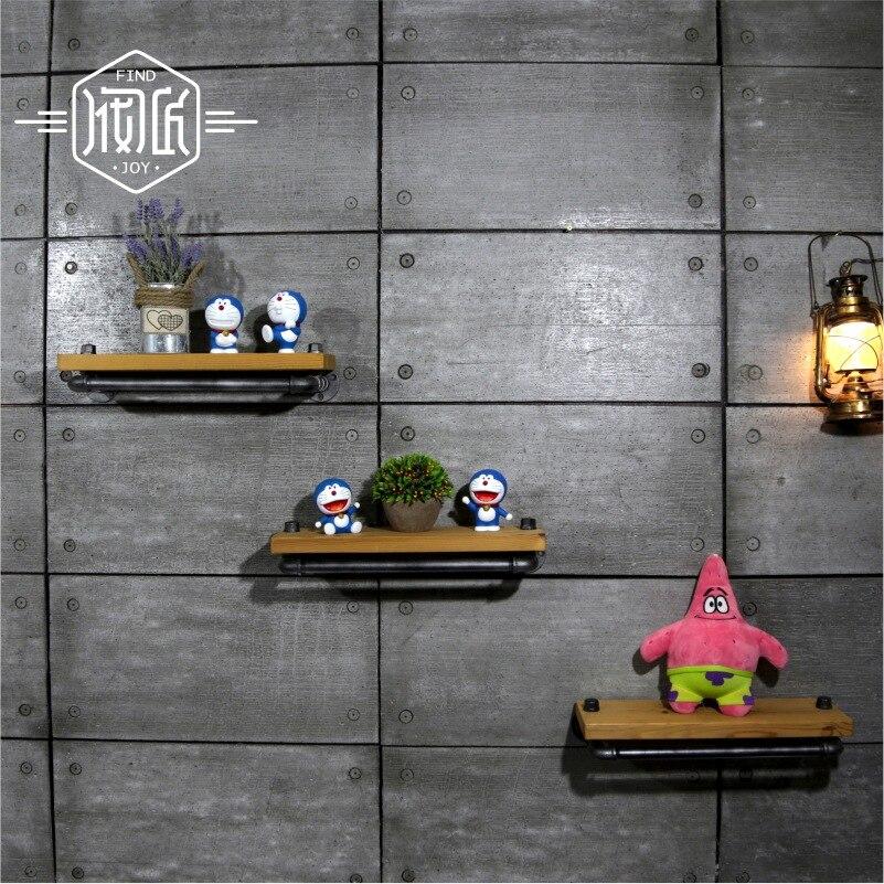 Wall Hanging Shelf Metal & Wood Storage Holders Racks Bathroom Shelves