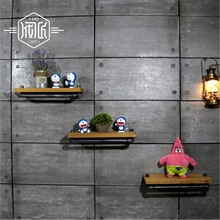 Wall Hanging Shelf Metal & Wood Storage Holders Racks Bathroom Shelves for Living Room, Kitchen