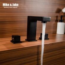 Черный смеситель с двойной ручкой и квадратной поверхностью для ванной комнаты, смеситель с тремя отверстиями для раковины, смеситель для горячей и холодной воды MJ06113H