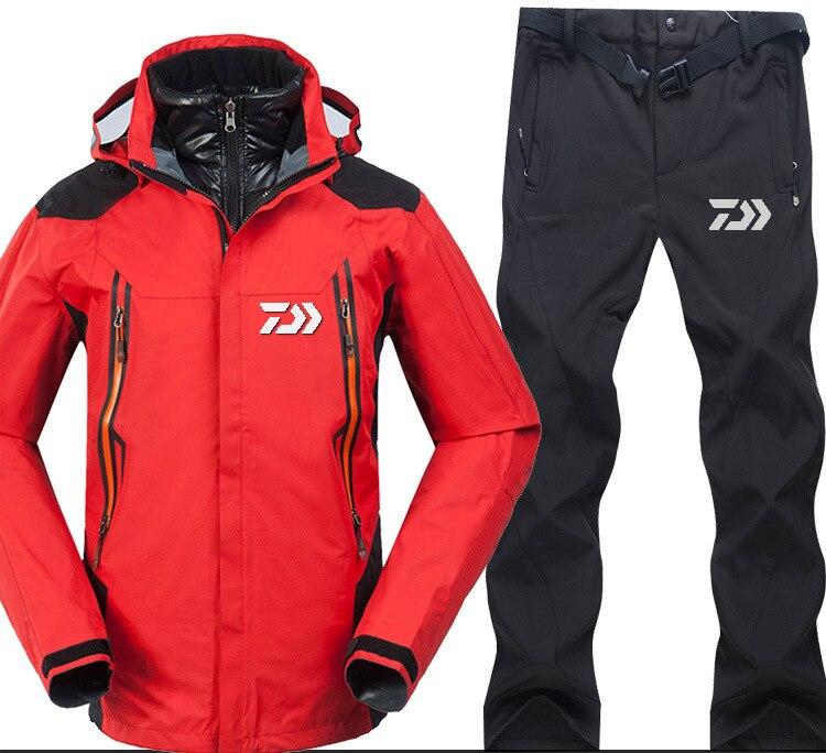 2018 di Marca di Pesca Daiwa Dawa Set Abbigliamento Uomini Respirabili di Sport di Usura Set Da Trekking Antivento Vestiti di Pesca Giacca E Pantaloni