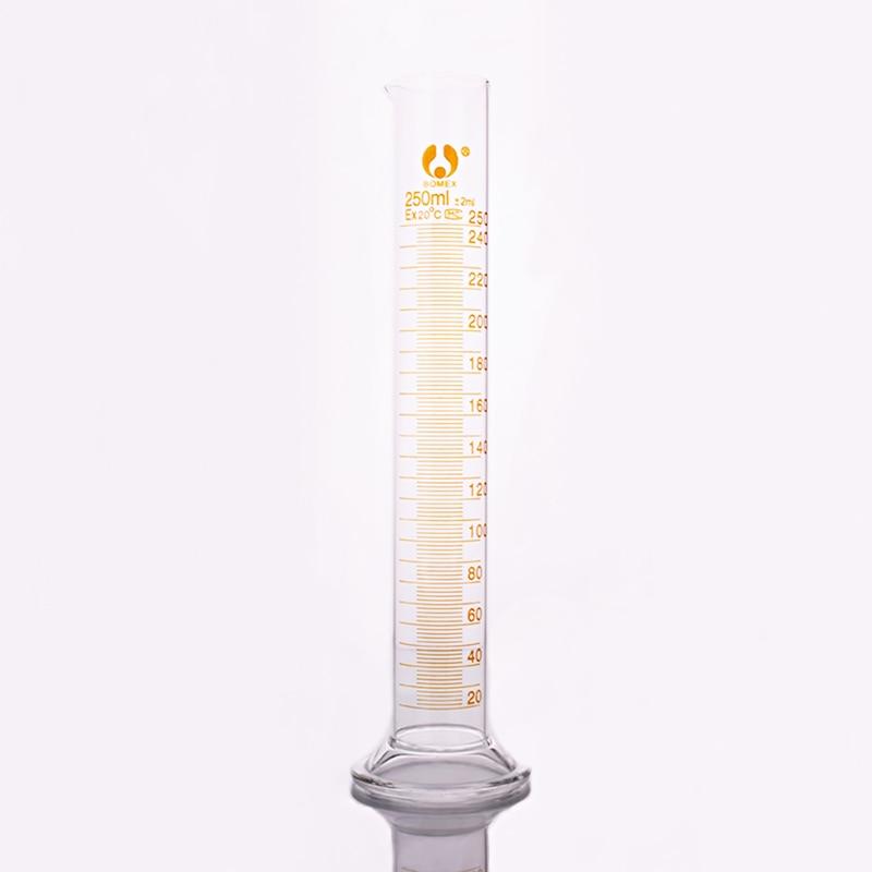 Alto vidrio borosilicato probeta, capacidad 250 ml, de vidrio graduado cilindro de laboratorio