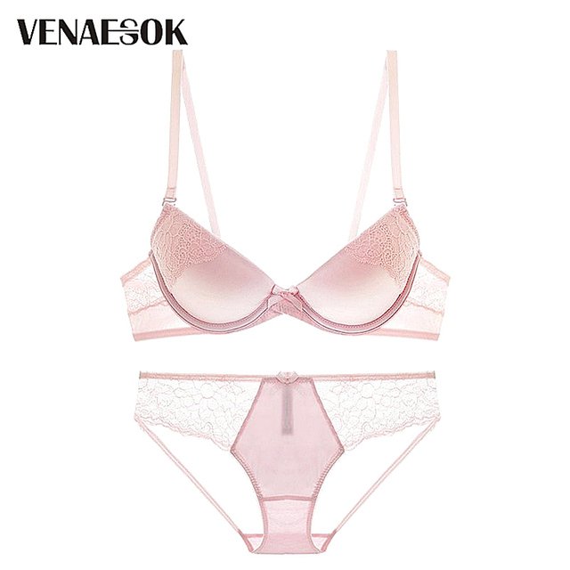 6705399433 Fashion Brand Pink Bra Panties Sets Embroidery Lace Lingerie Women Bra Set  Push Up Deep V Brassiere Sexy Underwear Set Cotton-in Bra   Brief Sets from  ...