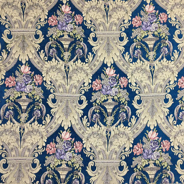 Deluxe Royal Blue Flower Thick Polyester Viscose Chenille Floral